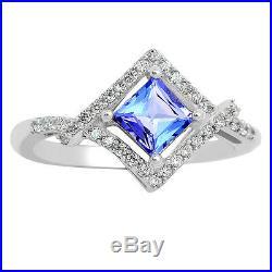 0.75cts Genuine Tanzanite & Cubic Zirconia 925 Silver Ring Jewelry s. 6 TZR1063-6
