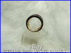 1/2 wide band CUBIC ZIRCONIA VERMEIL Sterling Silver 0.925 Estate RING sz 4 1/2