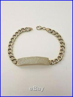 (1) Elegant Hollow 14ct Gold Cubic Zirconia Curb ID Bracelet