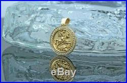 1 ct Round Cubic Zirconia Unique Men's Pendant 14k Yellow Gold Finish Silver