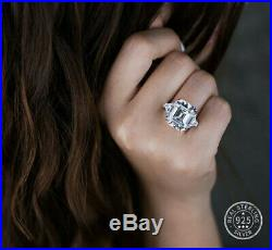 10.00 Carat Ascher Cut Cubic Zirconia Ring. 925 Sterling Silver E-f Vvs1 Size 7