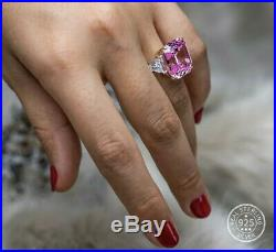 10.00 Carat Ascher Pink Cubic Zirconiaring. 925 Sterling Silver E-f Vvs1 Size 7