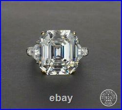 10.00 Carat Asscher Cut Cubic Zirconia Ring. 925 Silver E-f Vvs1 Size 7