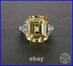 10.00 Ct Asscher Yellow Cubic Zircona Ring. 925 Sterling Silver E-f Vvs1 Size 6