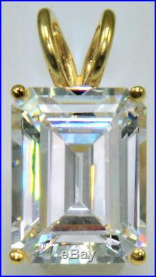 10 ct Emerald Cut Original Vintage Top Russian Cubic Zirconia 14 kt Over SS. 925