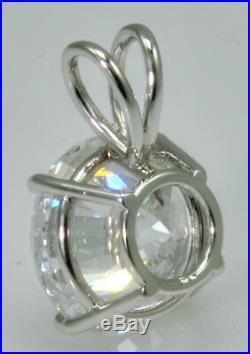 10 ct Round Pendant Original Vintage Russian Cubic Zirconia Solid. 925
