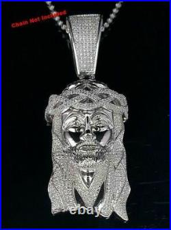 10K White Gold Finish Jesus Head Silver 925 Pendant with Crown & Cubic Zirconia