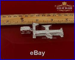10K White Gold Finish Silver 925 Initial Letter F Pendant with Cubic Zirconia