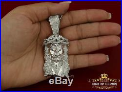 10K White Gold finish Jesus Head in Silver Pendant with Crown & Cubic Zirconia