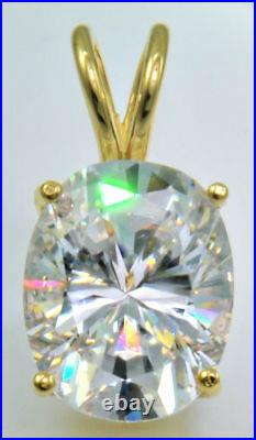10ct Oval Pendant Original Vintage Russian Cubic Zirconia 14kt Gold Over. 925 SS