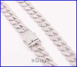 12mm Cubic Zircon Iced Out Miami Cuban Curb Link Chain Necklace Sterling Silver