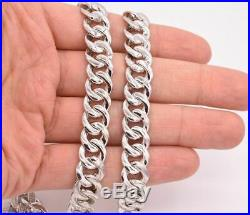 12mm Cubic Zircon Miami Cuban Curb Link Chain Necklace Sterling Silver
