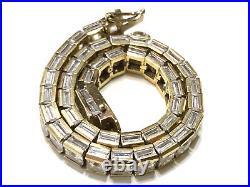 14K Gold Over Sterling Channel Set CZ Cubic Zirconia Tennis Bracelet