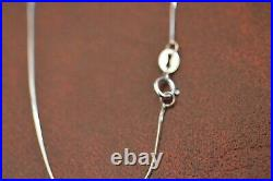14K White Gold Serpentine Chain 18 Inch Cubic Zirconia Heart Sterling Silver