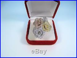 14k 3-TONE GOLD-PLATED AAA CUBIC ZIRCONIA FLOWER RING #8.5 925 STERLING SILVER