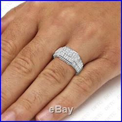 14kt White Gold Mens Round Cubic Zirconia Rectangle Cluster Ribbed Men's Ring