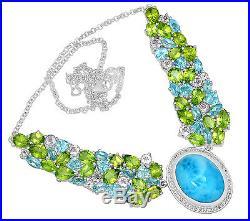 17.8cts Larimar (Dominican Republic) & Cubic Zirconia 925 Silver Necklace LMRN13