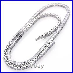 17 Rhodium Plated Silver 3mm Princess Square Cut Cubic CZ Women Tennis Necklace