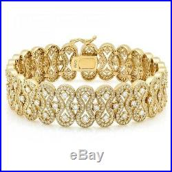 18K Yellow Gold over Sterling Silver Cubic Zirconia CZ Bracelet Wide