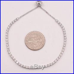 2.2mm Cubic Zirconia CZ Crystal 925 Sterling Silver Sliding Lock Tennis Bracelet
