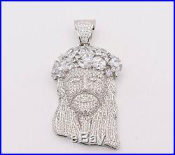 2 3/4 Jesus Head CZ Cubic Zircon Charm Pendant 14K White Gold Clad Silver 925