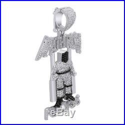 2.75 Ct Cubic Zirconia Hip Hop Deathrow Records Pendant 14K White Gold Over