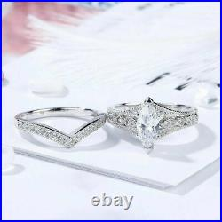 2.75 Ct Marquise Cut Cubic Zirconia Sterling Silver Curved Wedding Bridal Ring