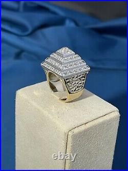 2 Tone Pyramid Style 925 Sterling Silver Ring Gents Full Cubic Zirconia Stones
