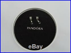2 x Genuine PANDORA Silver & 14ct Gold Charm with Black Cubic Zirconia & Box