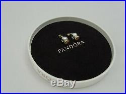 2 x Genuine PANDORA Silver & 14ct Gold Charms with Cubic Zirconia + Pandora Box