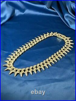 2021 Style Yellow Gold Finish Cuban 925 Sterling Silver Chain Iced Out Cubic