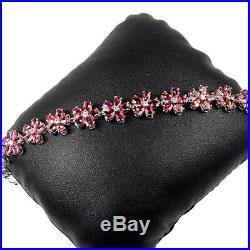 22.30 Gram Rubellite Pink Tourmaline Cubic Zirconia 925 Sterling Silver Bracelet