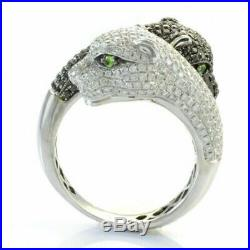 3.25CT White&Black Cubic Zirconia Panther Double Face Ring 925 Sterling Silver