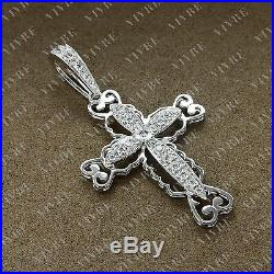 3.61 carat Round Cut Cubic Zirconia Cross Pendant Charm In Sterling Silver