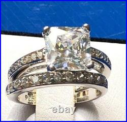 3.6ct Princess Cut Cubic Zirconia 925 Sterling Silver Engagement Ring Sz 4-11