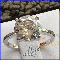 3.8ct Solitaire cubic zirconia in real 925 sterling silver engagement ring
