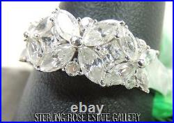 3 FLOWERS CUBIC ZIRCONIA Sterling Silver 925 Estate COCKTAIL BAND RING sz 10.25
