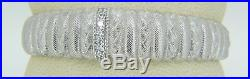 34.8 Grams Judith Ripka Sterling Silver & Cubic Zirconia Open Cuff Bracelet O4