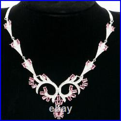 55x43mm Deluxe Fire Shape Pink Morganite Cubic Zircon Dating Silver Necklace