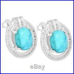 6.4cts Larimar (Dominican Republic) & Cubic Zirconia 925 Silver Earrings LMRE4