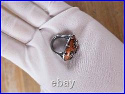 $609 BOTTEGA VENETA brown antique silver ring w cubic zirconia Size 5.5 US / 11