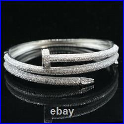 65x21mm Elegant 21g Rivet White Cubic Zircon Ladies Silver Bangle Bracelet 7.5