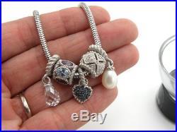 7.5 Judith Ripka Charm Bracelet Sterling Cubic Zirconia Pearl Gemstone Slide CZ