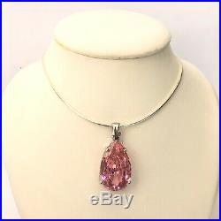 #7012166.1 SILVER Large Pink Drop Cubic Zirconia Pendant