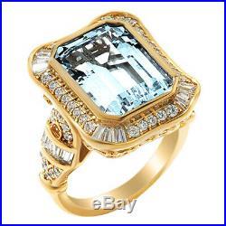 8.21 Cttw Aquamarine & Cubic Zirconia Frame Ring 14K Yellow Gold Over