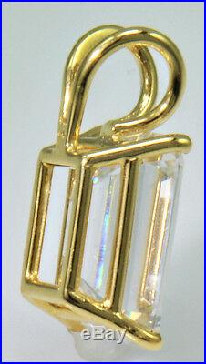 8 ct Emerald Cut Original Vintage Russian Cubic Zirconia 14kt Gold Over SS. 925