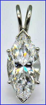8 ct Marquise Pendant Original Vintage Russian Cubic Zirconia Sterling Silver