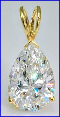 8 ct Pear Pendant Vintage Russian Cubic Zirconia 14 kt Over Sterling Silver