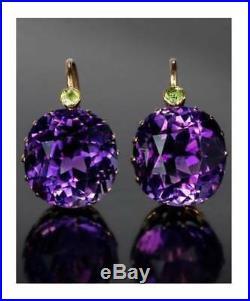 8Ct Round Cut Amethyst Purple Cubic Zircon Dangle Earrings Yellow Gold FN Silver