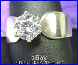 8mm DIAMONIQUE CUBIC ZIRCONIA Sterling Silver 925 Estate ENGAGEMENT RING size 11